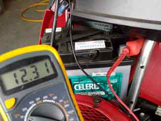 Riding mower battery check