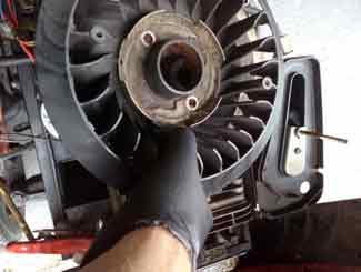 Mower engine fan