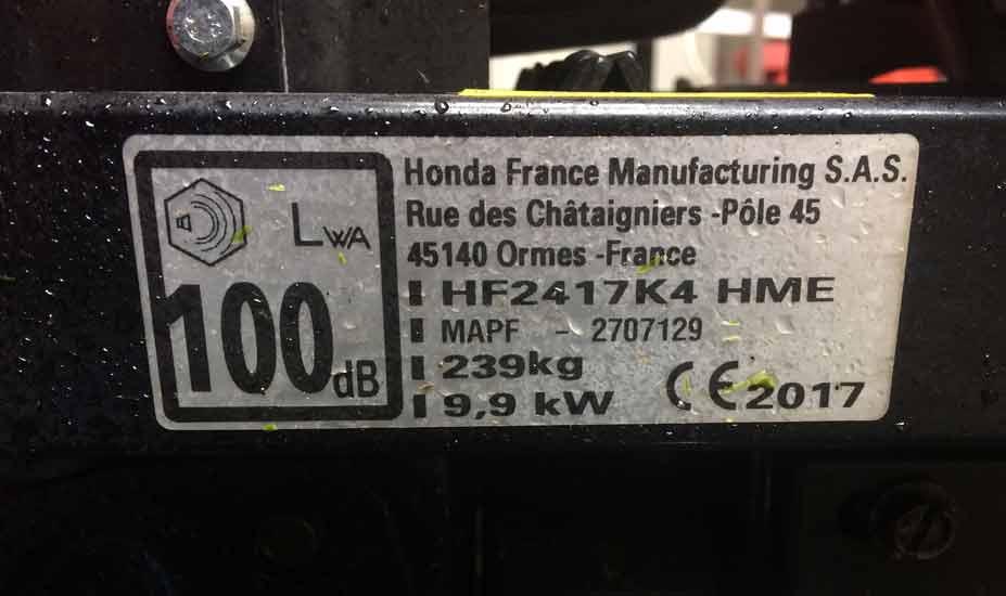 Mower spec label