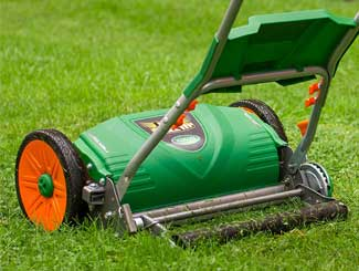 Lawn mower in garden