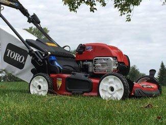 Toro mower on lawn