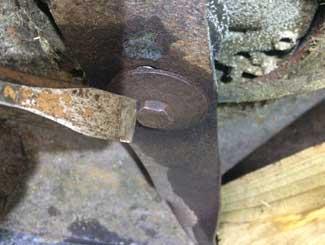 Mower blade bolt stuck