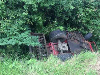 Tractor mower accident