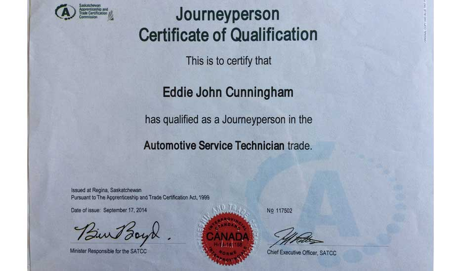 John Cunningham automotive technician Certificate of Qualification
