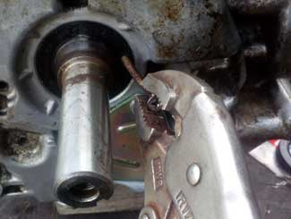 Tractor mower removing crank seal