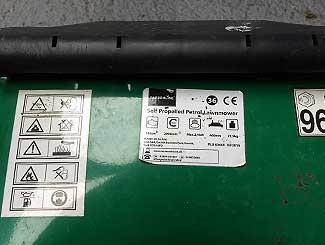 Lawn mower model label