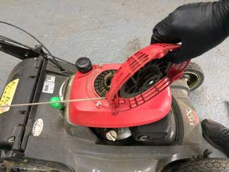 Lawn mower pull assembly removed