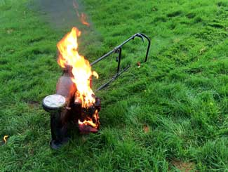 Lawn mower on fire