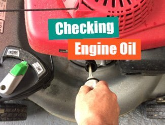 Mower engine oil check