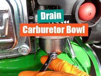 Mower carburetor gas bowl drain