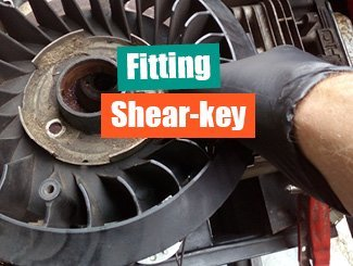Fitting mower shear-key