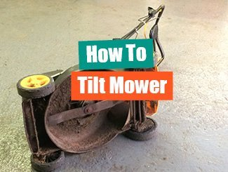 Mower tilted over on correct side