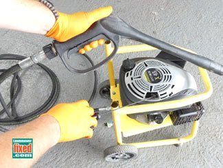 Starting a power washer with stiff pull cord