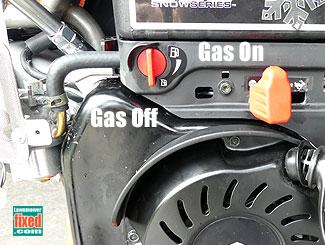 Snow blower Gas off